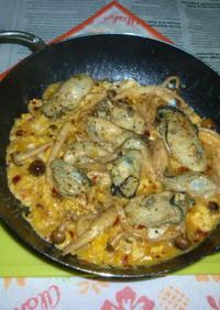 牡蠣&軸長しめじオリーブオイル炒め卵とじ