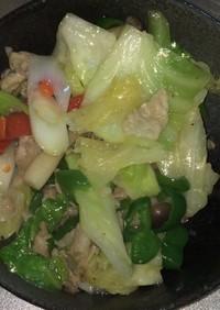 豚肉とネギと野菜の海鮮風味炒め