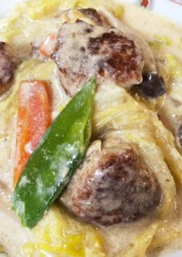 白菜と肉団子の中華風クリーム煮