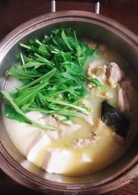 簡単☆鶏肉と水菜の湯豆腐鍋