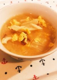 白菜とちくわのかき玉味噌汁