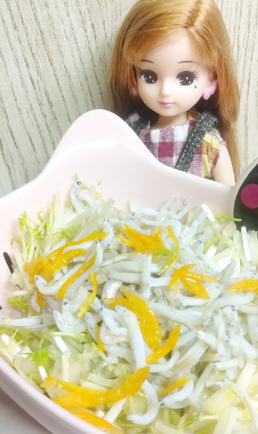 リカちゃん♡水菜金柑じゃこさんサラダ*.