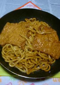 キムチ鍋の〆で焼きうどん