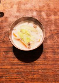 根菜ときのこのミルクスープ