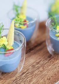 リナブルーde青の冷製コーンポタージュ