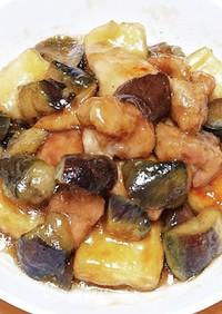 ポンの高野豆腐と茄子と鶏モモ肉の甘辛煮
