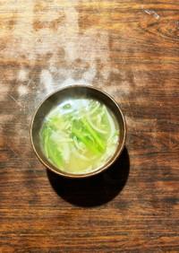 豆苗と根菜の味噌汁