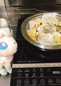 野菜たっぷりお鍋で卵グラタン