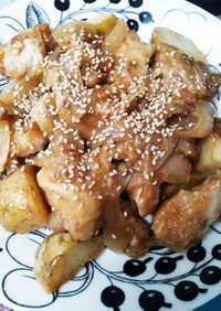 簡単に♪鶏むね肉の味噌マヨポテト♪