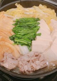 鍋つゆいらず、塩麹で、豚肉のにんにく塩鍋