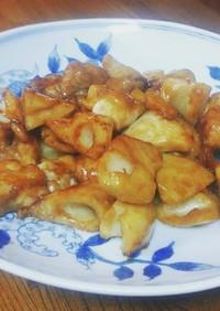 鶏肉と蓮根の黒酢炒め