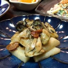 牡蠣と長芋のガーリックソテー