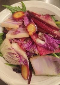 赤紫白菜のサラダ(簡単ドレッシングで)
