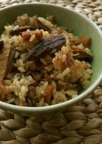 旨味たっぷり★干椎茸と干貝柱の炊込みご飯