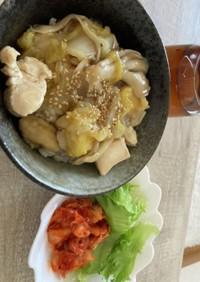 白菜鶏肉舞茸の和風あんかけ丼