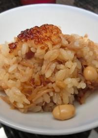 おこげが美味しい大豆となめ茸炊き込みご飯