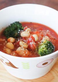 エビと豆の具だくさんトマトスープ