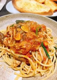 サバ缶のトマトスパゲッティー