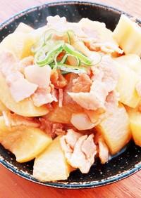 冷凍大根と豚バラ、ちくわぶの煮物