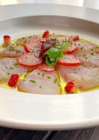 いちごと食べる白身魚のカルパッチョ