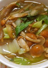 レクチンフリーチンゲン菜となめこの味噌汁