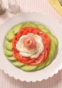 アボカドトマトのお花カプレーゼ