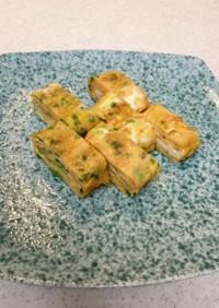 ドライ納豆とネギの卵焼き