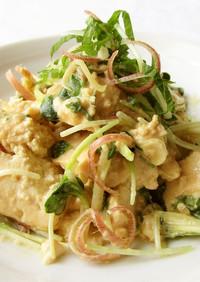 マヨみそポン酢で香味野菜と豆腐のサラダ