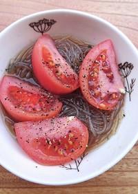レンジで簡単シンプル春雨スープトマトのせ
