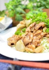ご飯が進む♬豚こま肉と里芋のガリバタ炒め