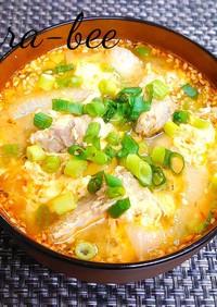 新玉ねぎと鯖缶の辛味噌かき玉スープ