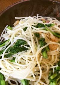 菜の花とブロックベーコンのスパゲティ