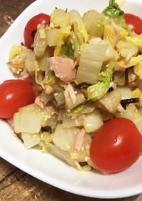 白菜の塩昆布とツナの和えもの