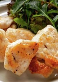 鶏皮の油を使って鶏むね肉の片栗粉焼き