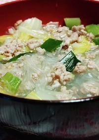 塩麹漬物で!白麻婆風春雨スープ