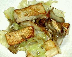 豆腐とキャベツのバター炒め
