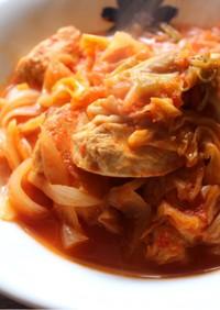 m炊飯器で鶏とキャベツのトマト煮