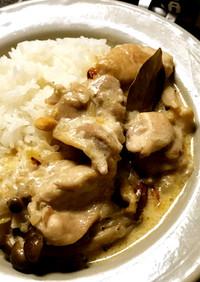 ◤電鍋レシピ◢鶏肉ときのこのクリーム煮込