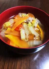 簡単白菜とミンチのボリュームスープ