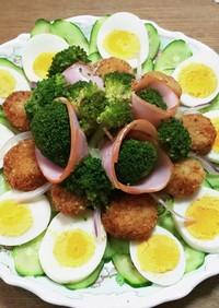 貝柱フライのサラダです。