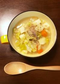 塩漬け豚とオートミールのスープリゾット