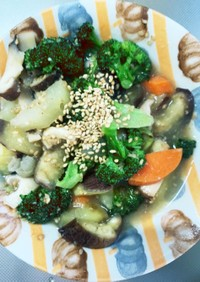 根菜茄子オニオンソース炒め味温野菜サラダ