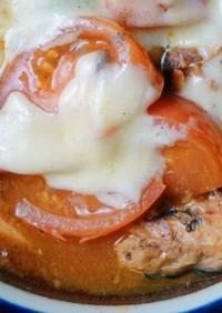 レンチンでトマトと鯖缶の煮込み