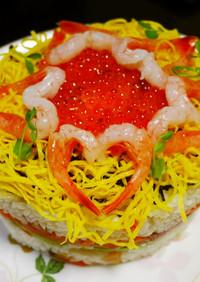 甘えびハートのちらし寿司ケーキ
