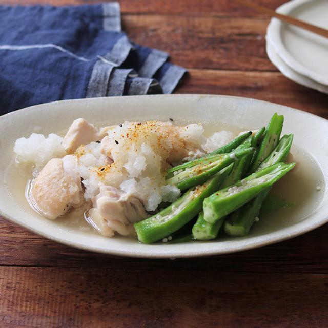 鶏とオクラの白だしおろしさっと煮