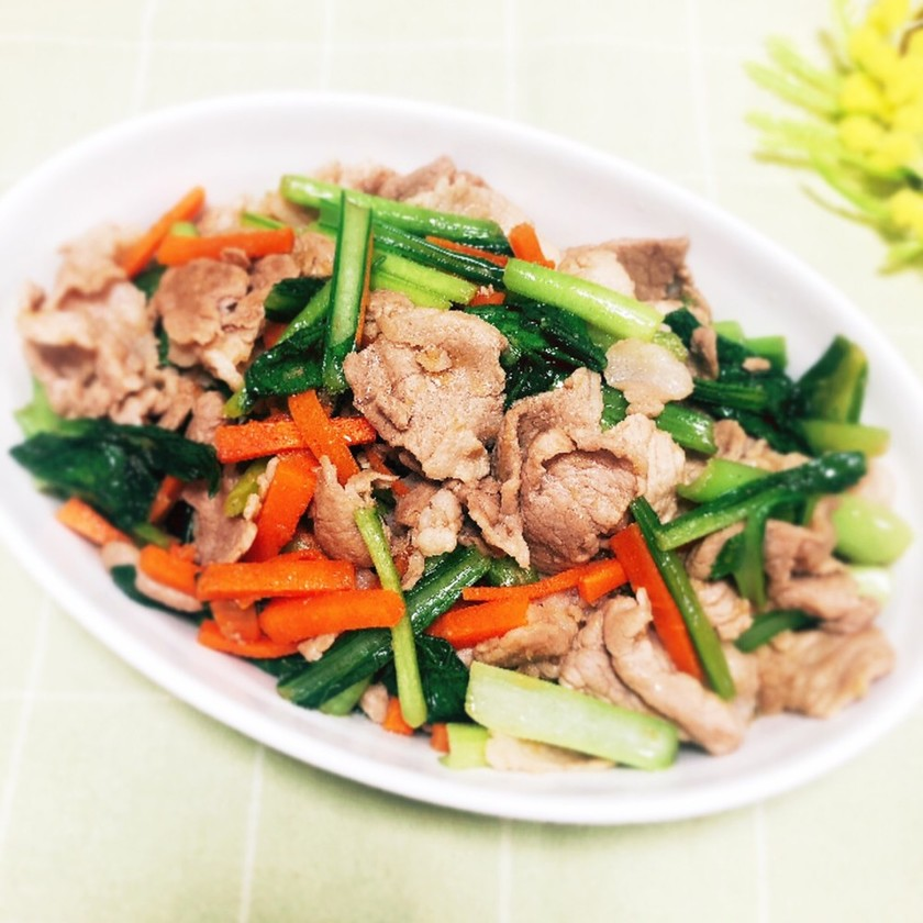 豚肉と小松菜のオイスター炒め
