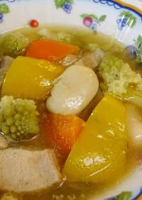 ロマネスコと白花豆とムネ肉のポトフ