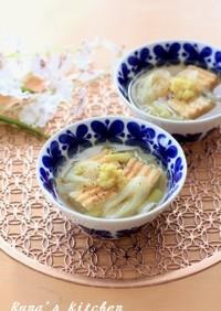 葱たっぷり厚揚げスープ