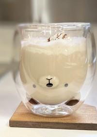 クマさんガラスコップで簡単カフェオレなど