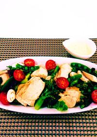 上州地鶏と春野菜のシーザーサラダ